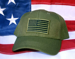 TACTICAL OD GREEN USA FLAG HAT CAP US ARMY MARINES NAVY AIR FORCE ... c13d5ae397f