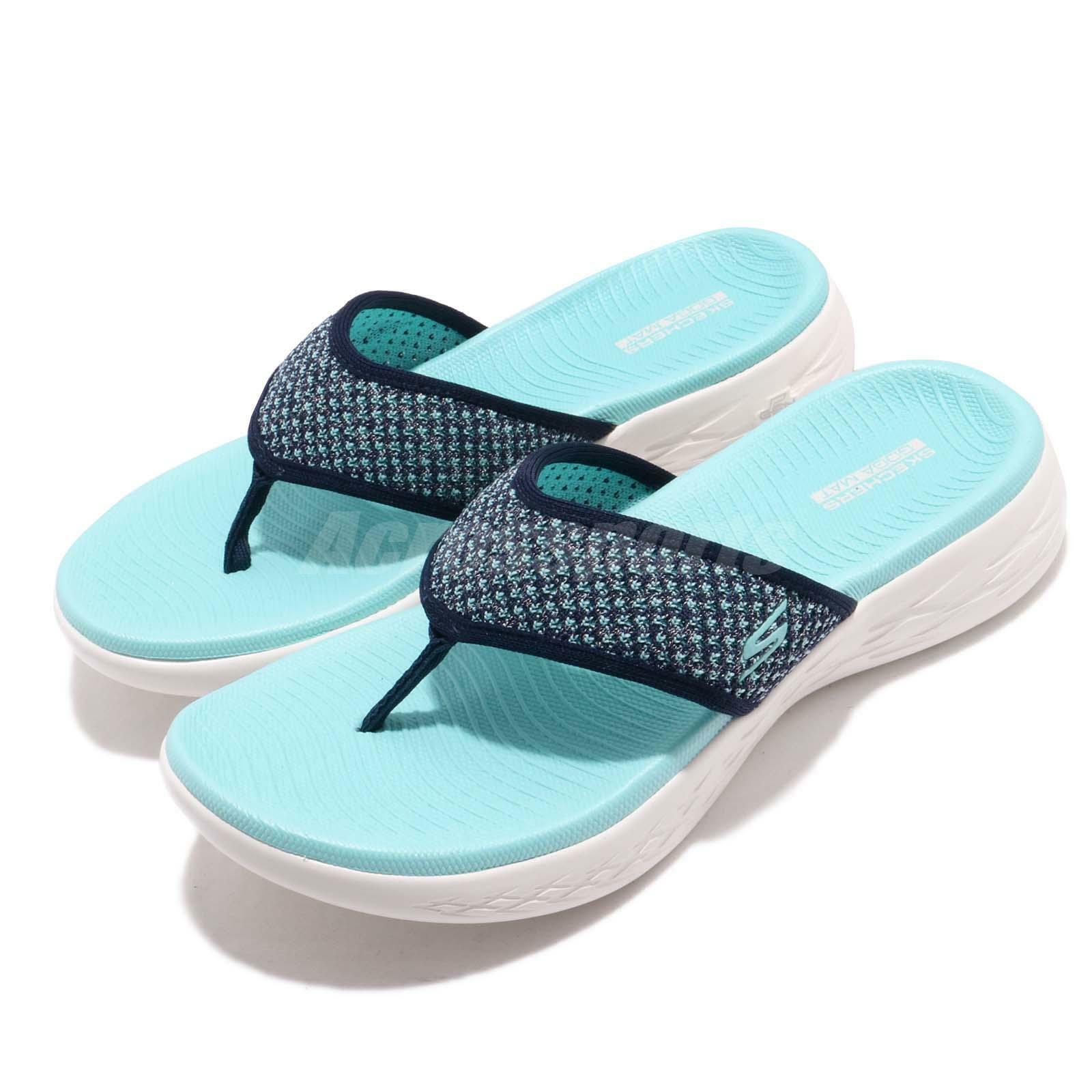 Skechers On The Go 600-Glossy Navy Aqua blanc femmes Flip-Flops Sandal 16150-NVAQ