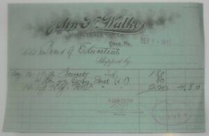 1911-Billhead-Erie-Pennsylvania-John-Walker-Wholesale-Paper