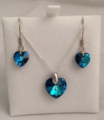 NEW! Byzantium Collection Bermuda Blue Crystal Heart Necklace & Earrings Set