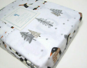Pottery-Barn-Kids-Winter-Penguin-Scarf-Flannel-Cotton-Twin-Sheet-Set-New