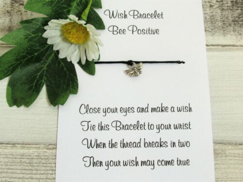 Bee Brave Wish Bracelet Gift Card Bee Charm Anklet Friendship Positive Quote