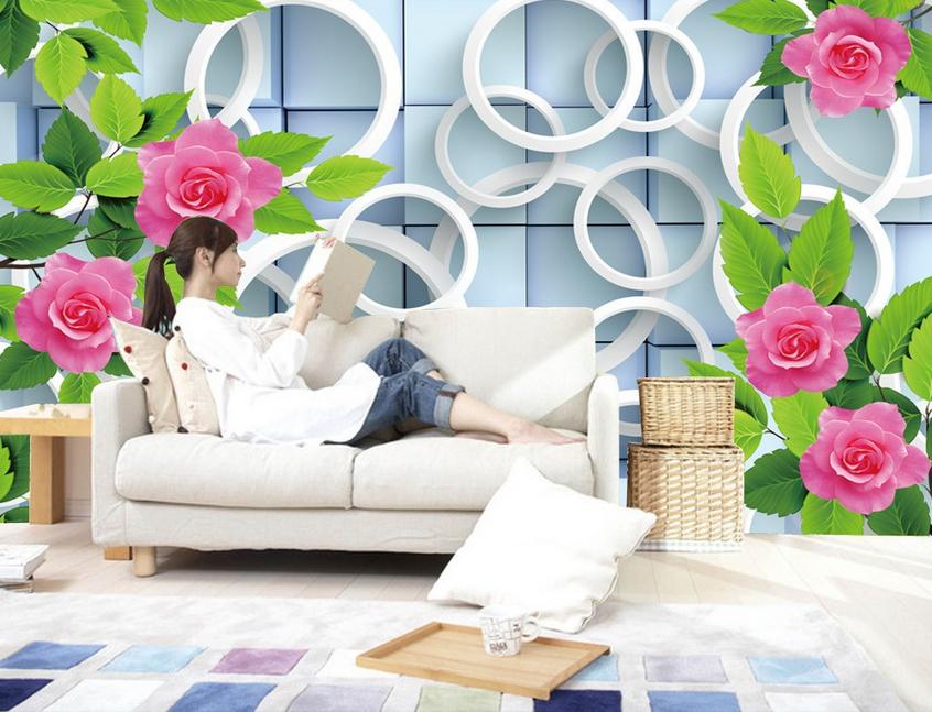 3D Flowers Ring 915 Wallpaper Mural Paper Wall Print Wallpaper Murals UK Lemon