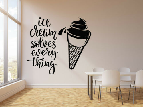 Vinyl Wall Decal Ice Cream Quote Dessert Food Sweet Home Phrase Stickers g2727