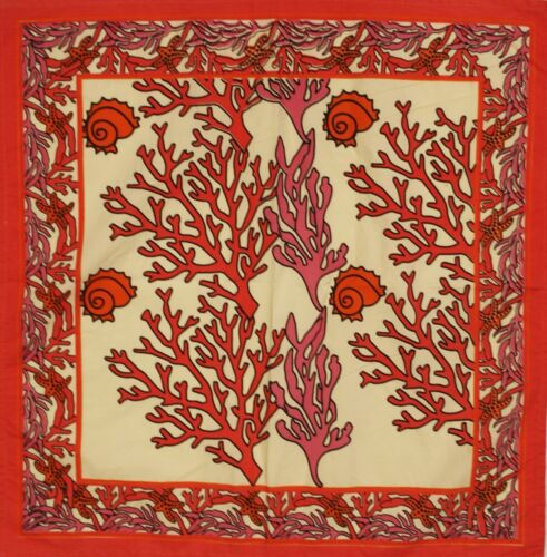 """Vintage Fabric with Coral Plants & Sea Shells"""