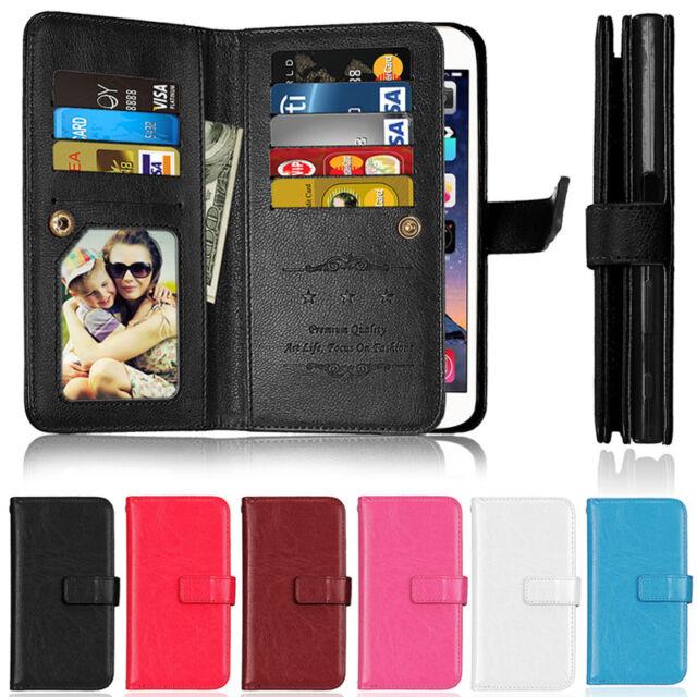 Luxury 9 Card Wallet Leather Flip Case Cover For Sony XZ1 XA1 L1 XZ2 XZ Z3 Z5 E5