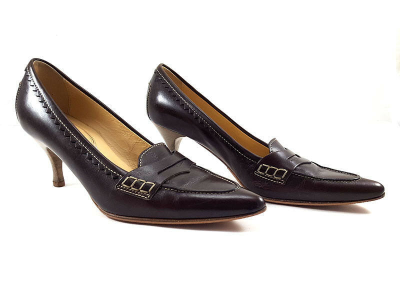 TOD's Brown Leather Penny Loafers Pumps, Women's shoe Size US 6 /
