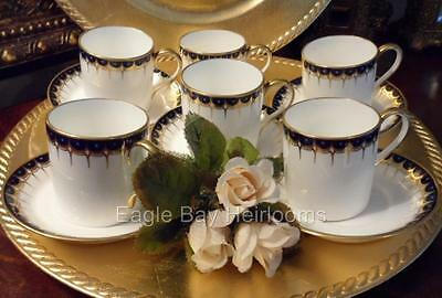 5 Demitasse Cup &Saucer SETS:WEDGWOOD England Bone China Y1863 Cobalt Blue+Gold