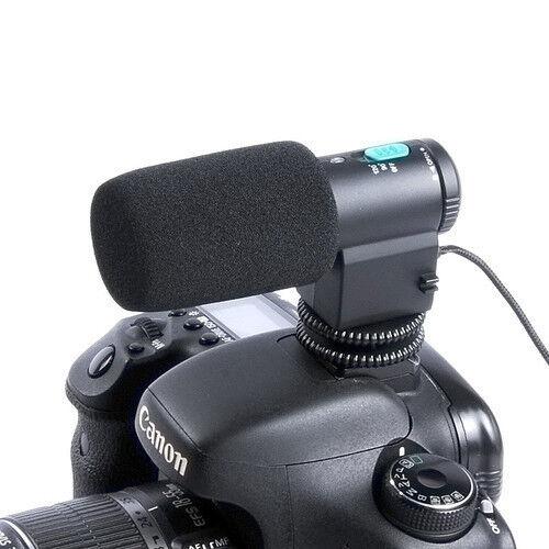 Black Mini External Stereo Microphone For 3.5mm MIC Jack DSLR Camera Camcorder