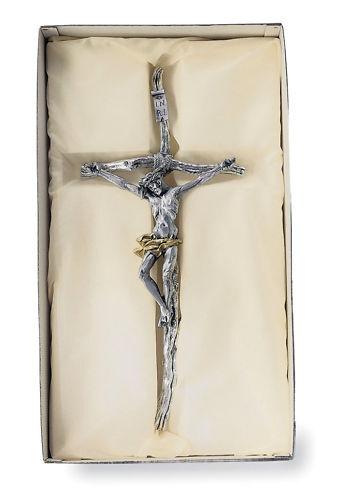 CROCIFISSO da MURO CROCE con CRISTO Cm.25x55H GALVANICA in ARGENTO 925/% 10440