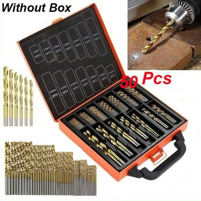 50 PCS HSS Cobalt Twist Drill Bits HSS-Co For Hard Metal Stainless Steel 1-3mm