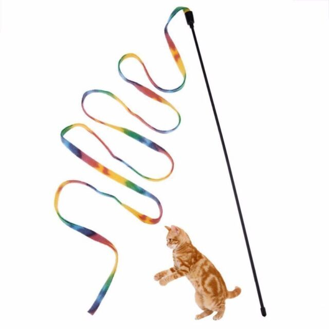 Pet Cat Toys Rainbow Cloth Stripe Tease Cats Rod Teaser Funny Playing Toy Gifts