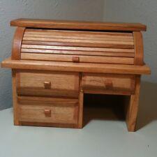 Vintage Folk Art Handmade Custom Roll Top Desk Jewelry Box Arts Crafts