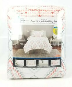 Mainstays 6 Piece Coordinated Bedding Set Twin Xl