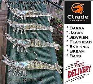 4-x-Rigged-Prawn-Shrimp-Fishing-Lure-Soft-Plastic-Baits-Lure-Flathead-Barra-Jew