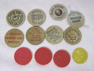 Lot-11-Vintage-Wooden-Nickels-Alpenrose-Farrell-039-s-Breslers-Jerry-039-s-Camera-T87