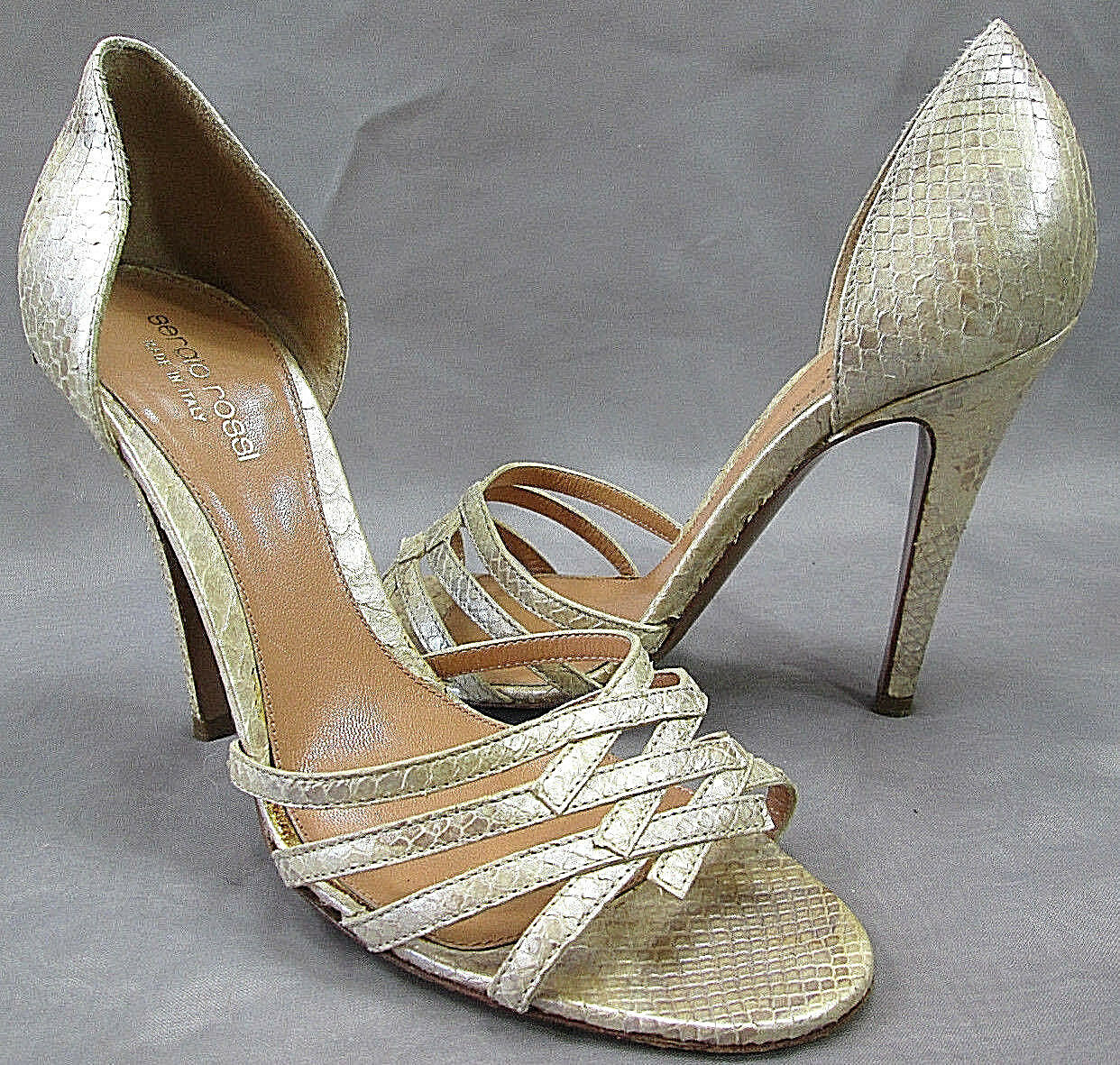 SERGIO ROSSI gold Metallic Python Criss Cross Toe Court Heels Sandals Sz 8   38