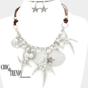 HIGH-END-SEA-LIFE-SHELL-STARFISH-VERY-CHUNKY-NECKLACE-JEWELRY-SET-CHIC-amp-TRENDY