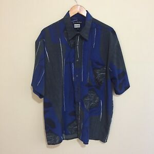 Mendoral-Luxurious-Peach-Handle-Abstract-Vintage-90-039-s-Button-Shirt-Blue-Mens-XL