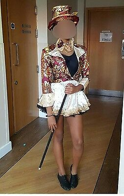 Willy Wonka Mad Hatter Dance Costume Skirt Jacket Hat Bow Girls Size 6 8 10