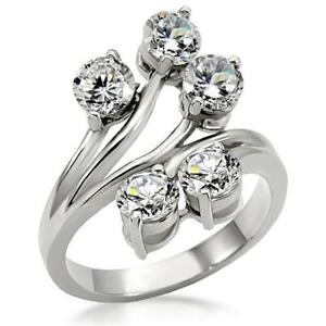 Women-039-s-Stainless-Steel-Multi-Round-CZ-Cocktail-Cluster-Vine-Flower-Ring
