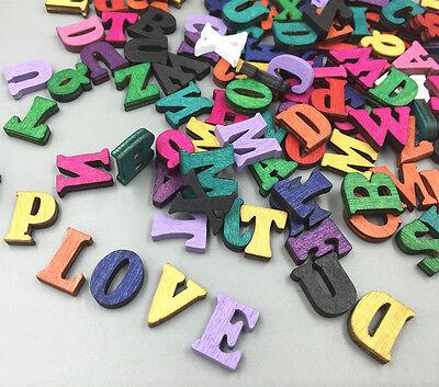 100pcs Random Mixed Wooden Embellishments Letters scrapbooking Crafts 15mm