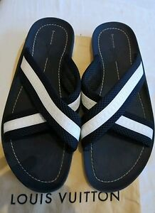 744a381f1 Louis Vuitton LV Sandals flip flops  sliders strap over MENS navy ...