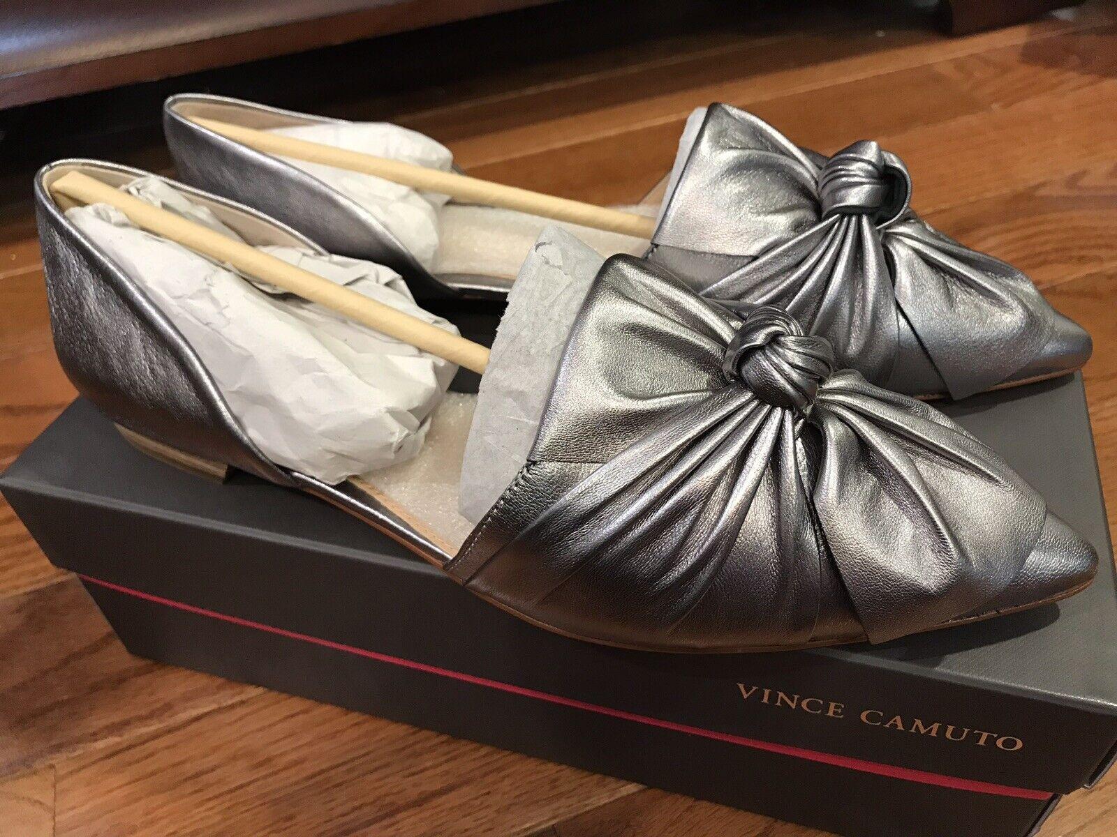 Vince Camuto moressa Bow-Enveloppé Flats Taille 9.5 M étain métallique NOUVEAU  180