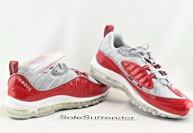 timeless design b55d2 87fc5 Supreme X Nike Lab Air Max 98 Patent Leather Red White Mens Limited  844694-600 8.5