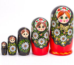 """Nesting Doll Matryoshka Made in Russia 4/"""" Hand Painted 5 pc Flowers Strawberry"""