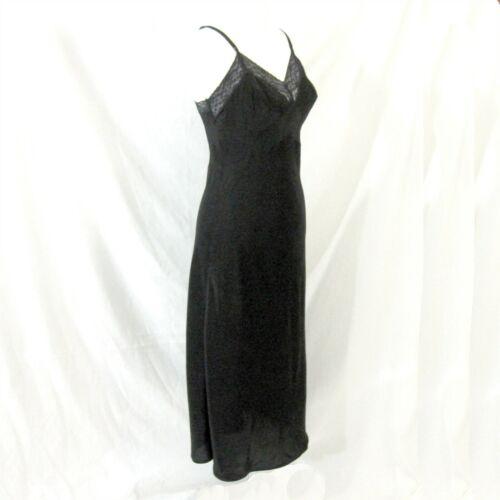 Textron Black Full Slip Size 16 Miss Vintage 1940s