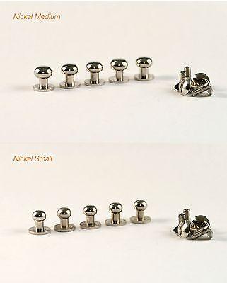 Sam Browne Brass, Nickel Screw Back Button Head Stud & Screw (high quality)