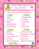 24 Baby Shower Game Cards Whats In Your Purse Game - Under The Sea - Pinks