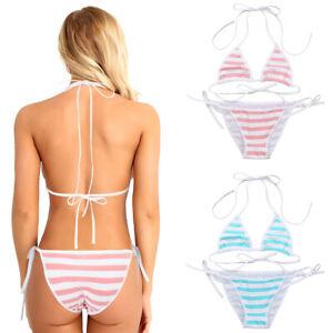 Damen Süß Sexy Anime Cosplay Badeanzug Gestreift BH Panties Kawaii Bikini Set