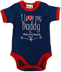 "Dad Baby Bodysuit ""I Love My Daddy This Much"" Trimmed Babygrow Father Newborn"