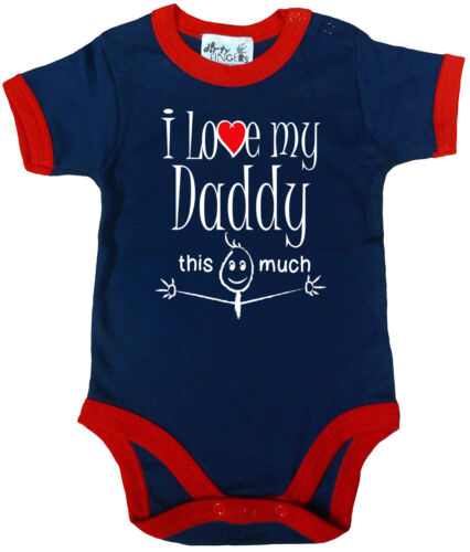 """DAD Baby Body /"""" I love my Daddy This Much /"""" getrimmt Strampler Vater"""