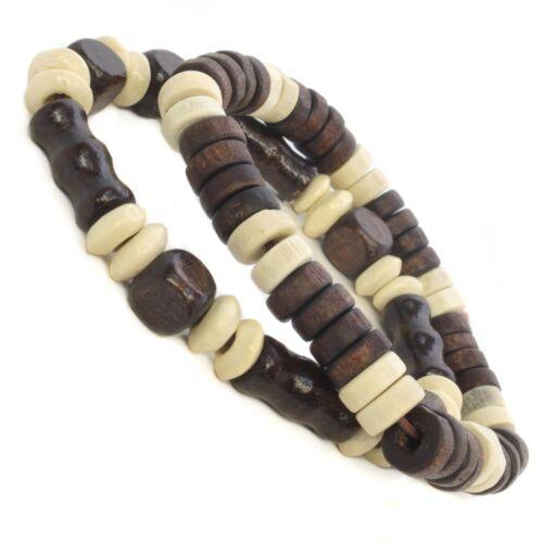 Hommes/' Unisexe Coll en Bois Coco Perles Surf Bracelet Mode Marron Noir Blanc
