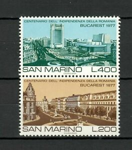 S27615) Dealer Stock San Marino 1977 MNH New Bucharest 2v Pair (X10 Sets)