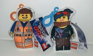 LEGO-Movie-2-Plush-Emmet-Lucy-Clip-Accessory-Toy-Plush-LOT-OF-2
