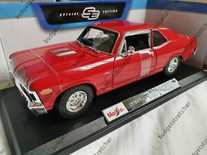 MAISTO-1-18-Scale-1970-Chevrolet-Nova-SS-Coupe-Red-Diecast-Model-Car