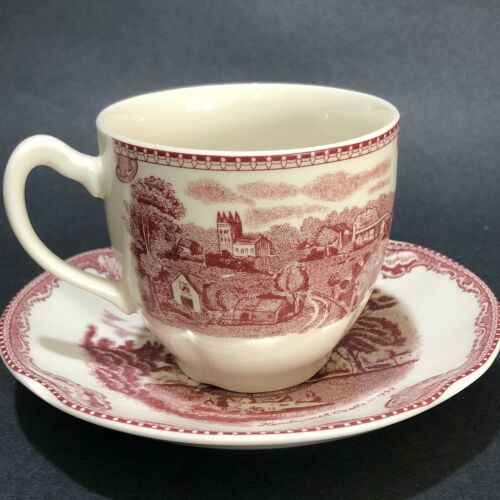 Johnson Brothers Old Britain Castles Pink Flat Cup And Saucer