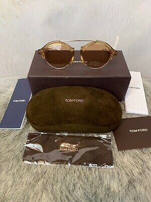 New Tom Ford Farrah Oval sunglasses FT0631//S 55E 49mm Light Havana Brown GENUINE