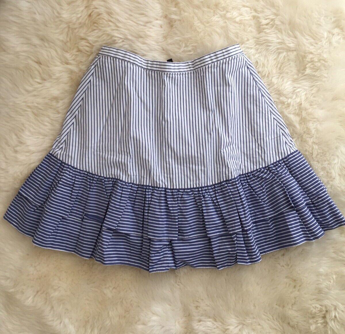 New JCREW Tall striped ruffle skirt White bluee G6565 Sz 12T 12 Tall