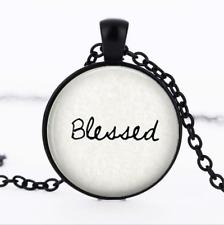 Blessed - Faith Black Glass CABOCHON Necklace Chain Pendant Wholesale