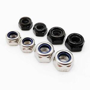 25-100pcs-Stainless-Steel-Black-Hex-Nylon-Insert-Self-locking-Lock-Nylock-Nut
