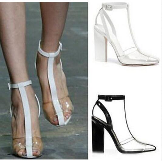 Womens Ankle Boots Sandal Fashion Transparent Chunky Heel Pumps Roman Shoes Plus