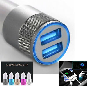 Car-Charger-3-1A-Double-LED-USB-Alloy-Universal-Fast-Charging-iPhone-Samsung-New
