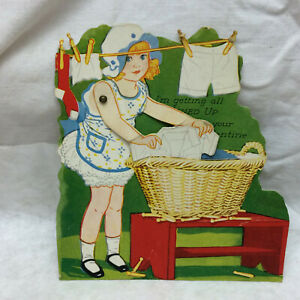 Vintage Valentine Day Card By Carrington Co. Chicago IL Girl Doing Laundry