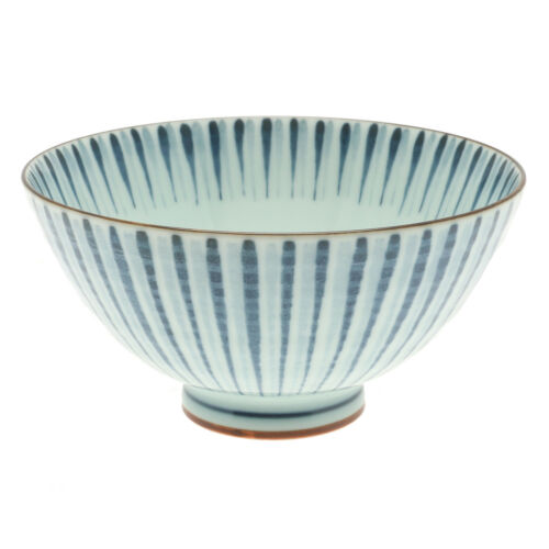 """2x Japanese 5/""""Duo Tone Brushed Lines  Rice Bowl #130-610"""