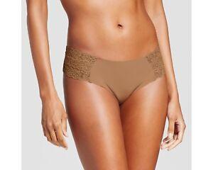 6b9328aab9bd xhilaration Women's Cheeky Laser Cut w/Lace Boyshorts Carmel M (Size ...